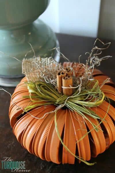 32. Mason Jar Ring Pumpkin